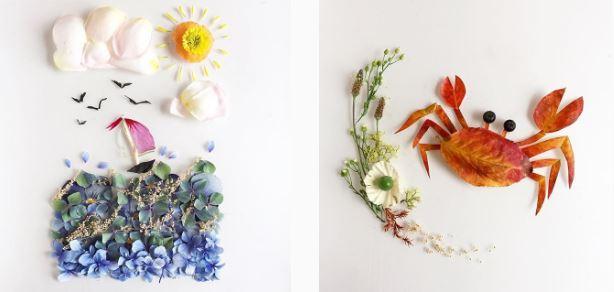 เมื่อเศษดอกไม้ใบไม้กลายมาเป็นผลงานศิลปะสุดสร้างสรรค์
